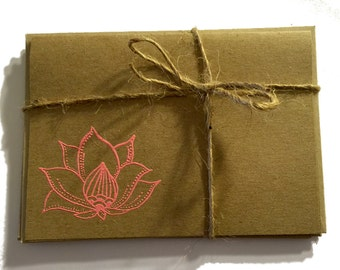 FREE Shipping Handmade Note Cards with Embossed Lotus- Pink