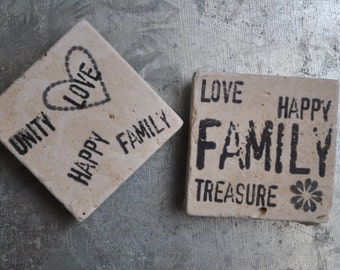 Family & Love Magnets or Ornaments. Set of 2. Hostess gift, Teacher gift, Housewarming