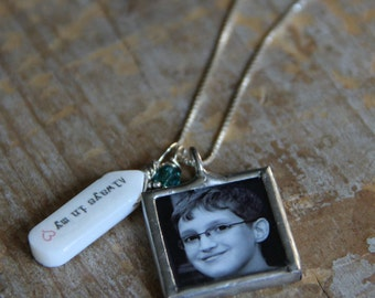 Custom Photo Name Necklace Sterling Silver Glass Photo Locket