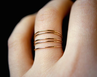 Smooth Gold stacking rings set of 5, 14K gold fill stacking rings, skinny gold stacking ring, smooth gold ring, set of 5