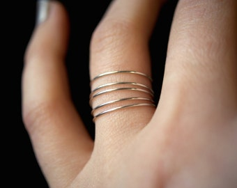 Smooth Sterling Silver Stack rings, silver stacking ring, Set of 5, skinny silver stackable ring, silver stack ring, delicate silver ring