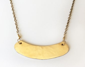 Golden collar bib necklace, brass, pendant, gold necklace, tribal