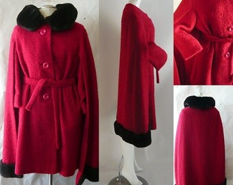 Red Wool Drama CAPE Coat / size 8 10 12 / Modish Belted Fur Trim / Vintage 1960s Long Poodle Cloth