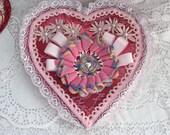 Valentine Heart BOX Upcycled Vintage Lace Doilie  ECS sct schteam SVFteam