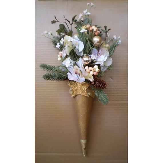 Victorian vintage style paper flower cone Christmas wall hanging door floral arrangement Yule Winter Solstice
