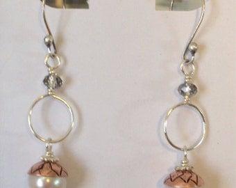 acorn freshwater pearl earings