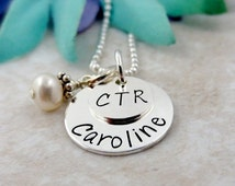 CTR Necklace - Choose the Right Necklace - Personalized LDS Mormon Jewelry - LDS Baptism Gift - Christian Faith Necklace - Child Of God