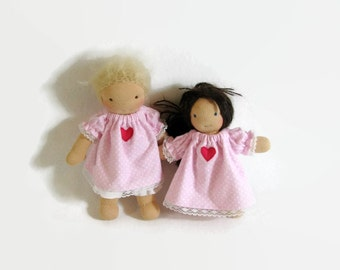 7 to 8 inch Waldorf doll pink polka dot cotton flannel nightgown, Waldorf doll clothes, tiny doll heart nightgown, handmade doll clothing