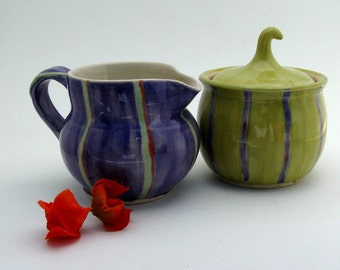 Cream and Sugar Set -  Ready to Ship - Creamer and Sugar Bowl - Hand  Thrown Stoneware Pottery