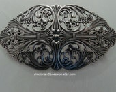 Vintage Victorian Handcrafted silver hair barrette