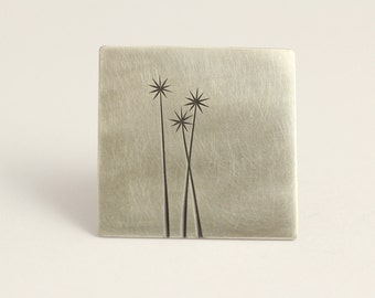 Square Brooch with Cabbage Trees in Sterling Silver