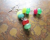 Feeling Green Rainbow Agate Beaded Dangle earrings