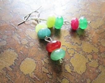 Feeling Green Rainbow Agate Beaded Dangle earrings