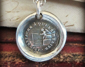 Only the Best Will Do - antique French motto wax seal charm necklace in fine silver - Don't settle on love....wait for the big fish - FP370