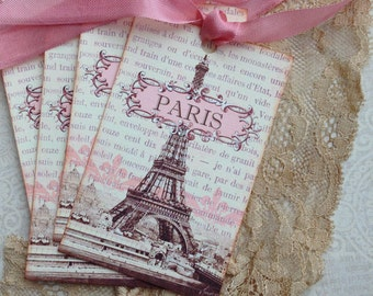 Paris Tags- SEPIA AND PINK - French Tags - Eiffel Tower Tags - Paris 1889 Exposition - Set of 4