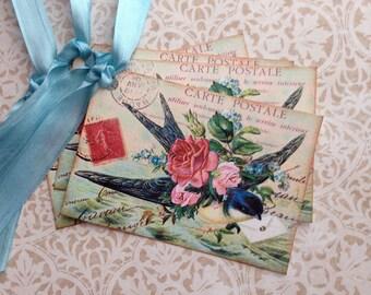 Bird Tags - Vintage BlueBird Tags - French Bluebird - Messenger Bluebird Tags - Set of 8