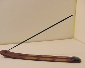 CLEARANCE Zen incense burner stick holder #10 ironwood, Net Jasper | Sculpture hippie BoHo deadhead Aromatherapy Accessory beatnik Woodland