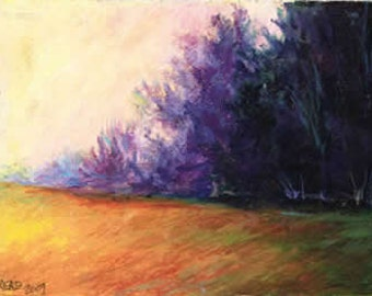 Morning Mist Oil Pastel Painting