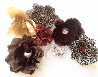 "GRAB BAG no. 4 -- OVER 15 Brown Tones Small to Medium Artificial Silk Flowers and Misc - Some ""Less than Perfect"""
