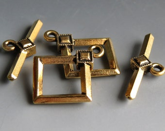 TierraCast Antique Gold Deco Diamond Toggle 22mm Clasp : 1 Gold Toggle Clasp