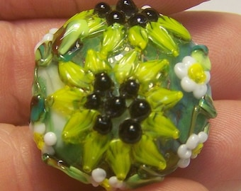 Handmade Lampwork Bead -Yellow Sunflower Spree- SRA  S105