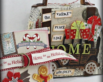 HOME for the HOLIDAYS Purse Shaped Hinged Wood Box Holder with Multi Page Accordion Scrapbook Scrapbooking  Album Journal Inside