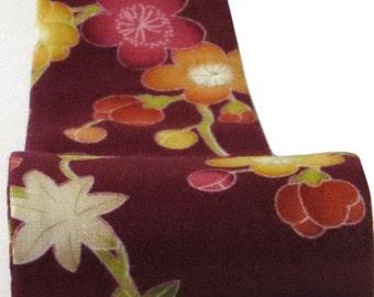 Burgundy Headband, Womens, Cute Japanese Floral Print