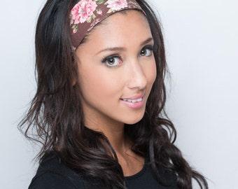 Pink Headband, Pink & Brown Headband, Floral Headband, Pink Brown Head Band, Adult Head Band, Womens Headband, Womens Head Band Hair Band
