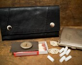 OOAK UPCYCLED Black Leather Tobacco Pouch