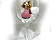 Order a Custom Hand Painted Wine Glass Wineglass Dog Art
