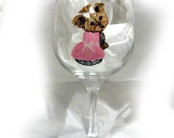 Order a Custom Hand Painted Wine Glass Wineglass Dog Art