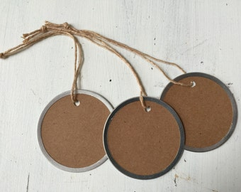Metal Rim Tags, Large Rustic Kraft Round Tags, 12 Country Tags, 2 1/4 inch tags, Blank Round tags, Mason Jar tags, M01