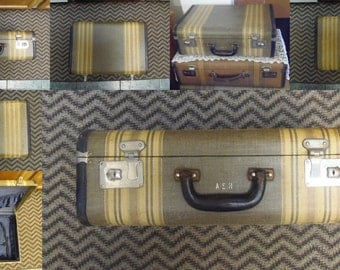 Vintage Striped Tweed Suitcase A.S.H. Leather Trim  Key