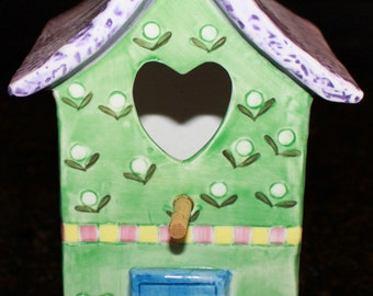 Ceramic Painted Birdhouse
