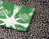 Crow Pattern Fabric - Green - Small Piece