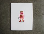 Letterpress Print Retro Girl Robot Tin Toy • Art • Room Decor • Poster • Size 8.5''x11'' • Ink Petals • Vintage Collectible