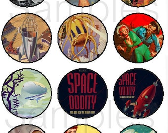 """1"""" Inch Retro Scifi Pins, Flatback Buttons or Magnets 12 Ct. Set B"""