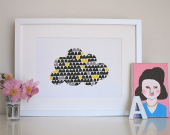 Little Cloud, Yellow And Black Print