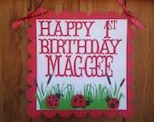 Ladybug Birthday Sign - Welcome Guests Door Sign - 1st Birthday Little Lady Garden Theme Birthday -  Baby Shower Ladybug Decorations
