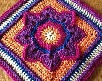 Eight Pointed Flower by Julie Yeager - Crochet Pattern Afghan Square