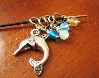 Dolphin & Sea Glass Non-Snag Stitch Markers