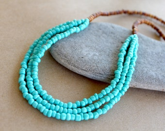 Turquoise Seed Bead Wood Bead Necklace