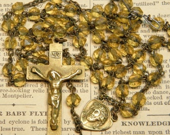 Vintage AS IS Rosary Broken Pale Yellow Glass Beads