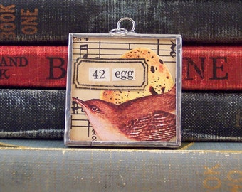 Egg and Bird Collage Art Pendant - One of a Kind - Bird and Egg Charm - Soldered Glass Pendant - Mixed Media Altered Art - Bird Charm