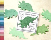 12 Dinosaur Birthday Party Favors - Plantable Seed Paper Dinosaur - Personalized Card - Baby Shower Favor Weddings
