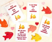 24 Seed Fish School Kids Valentines Cards - Plantable Paper Seed Valentine's Day Card Set - Fish in the Sea