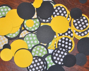 Black and yellow Confetti. Minis. Dots. Handmade Confetti. 125 pieces. black. yellow. green. polka dots. gingham