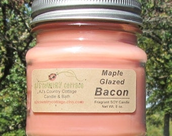 MAPLE GLAZED BACON Soy Candle - New - Highly Scented - Breakfast