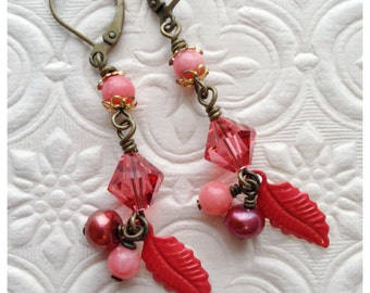 Coral Vintage Beaded Crystal and Brass Dangle Earrings with Leaf Charm