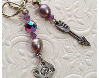 Earrings Silver Arrow and Repurposed Purple Beads Mismatched